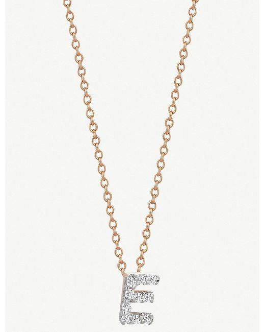 The Alkemistry - Metallic Kismet By Milka 14ct Rose Gold Initial E Necklace - Lyst