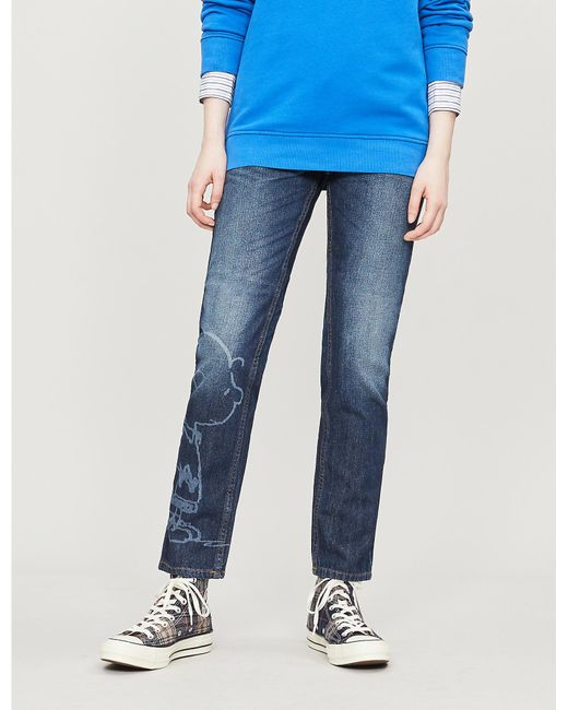 outlet store f537c 6f768 Women's Blue Snoopy-graphic High-rise Straight Jeans