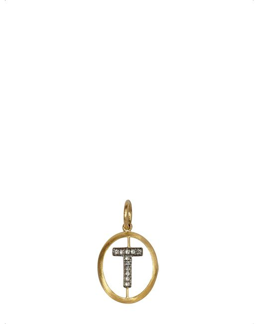 Annoushka - Metallic 18ct Yellow-gold And Diamond T Pendant - Lyst