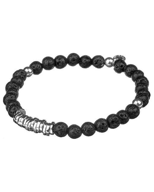 Tateossian Black Silver Disc Beaded Bracelet for men