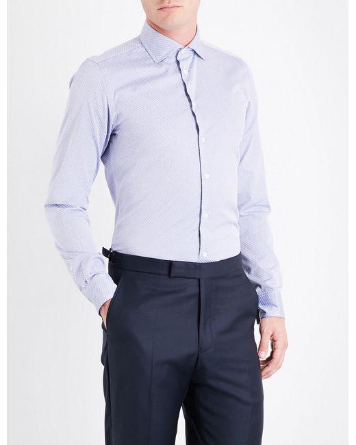 Richard James   Blue Geometric-print Contemporary-fit Cotton Shirt for Men   Lyst