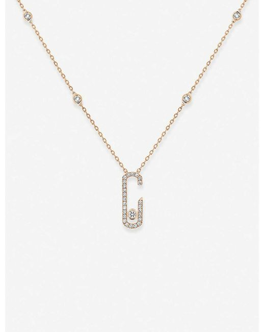 Messika Move Addiction 18ct Pink-gold And Diamond Necklace