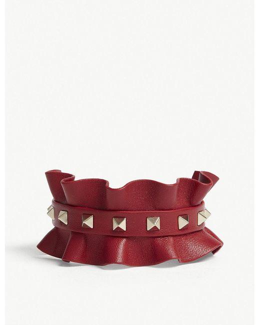 Valentino - Red Rockstud Frilled Leather Bracelet - Lyst