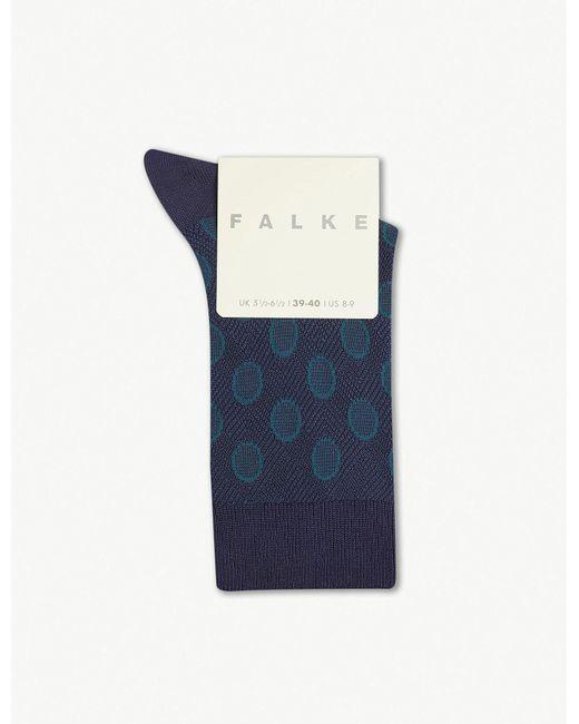 Falke - Blue Maki Circle-print Knitted Socks - Lyst
