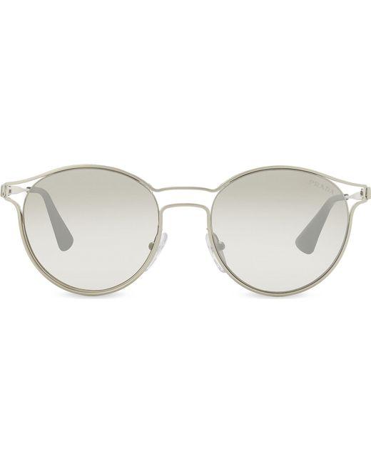 b4d57aef4095 Prada - Metallic Womens Silver Pr62ss Mirrored Round-frame Sunglasses - Lyst
