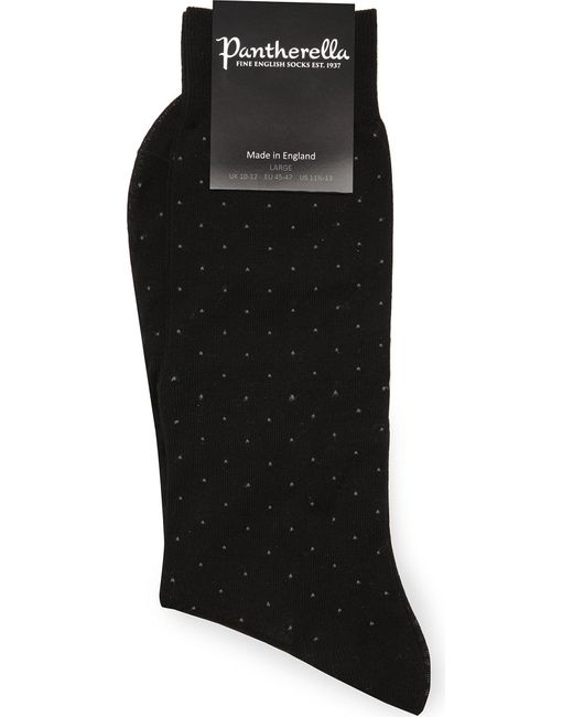 Pantherella | Black Pin-dot Cotton-blend Socks for Men | Lyst