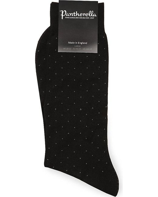 Pantherella | Black Pin-dot Cotton-blend Socks for Men | Lyst