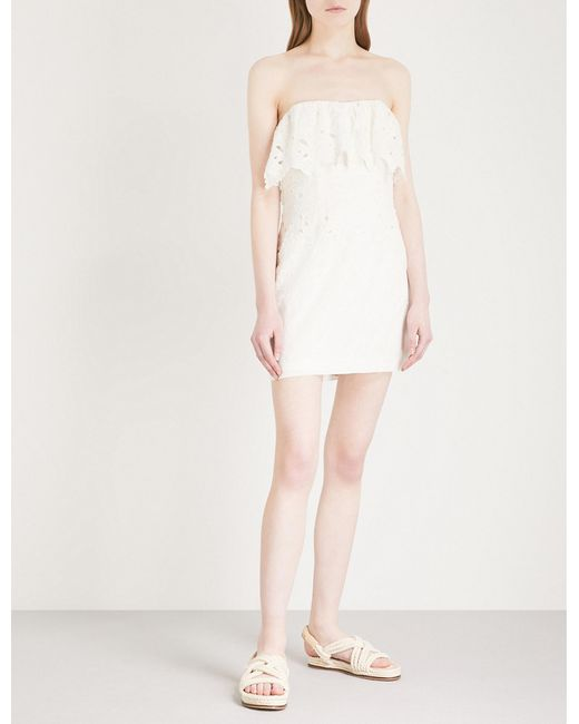 Free People - White Off-the-shoulder Mini Dress - Lyst