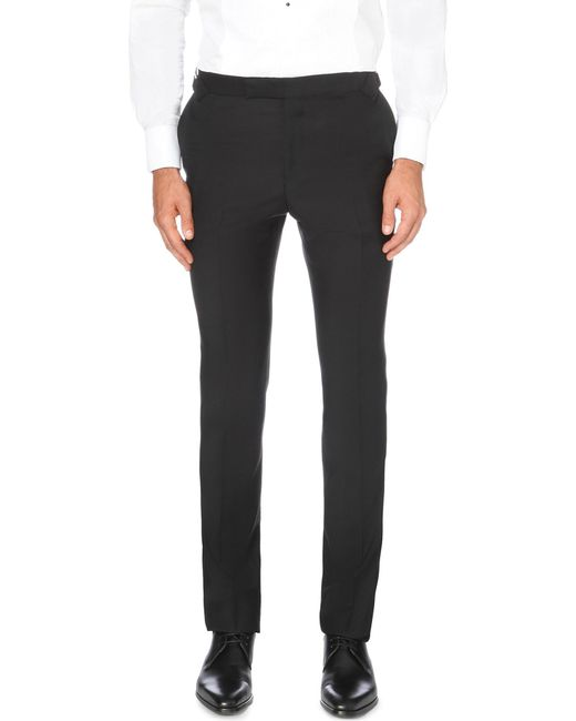 Gieves & Hawkes - Black Tapered Wool And Mohair-blend Trousers for Men - Lyst