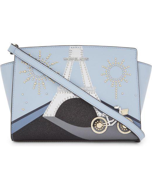 MICHAEL Michael Kors | Blue Selma Leather Cross-body Bag | Lyst