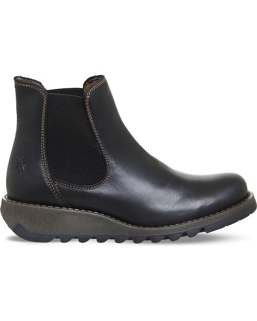 Fly London - Ladies Black Striped Unconventional Salv Leather Chelsea Boots - Lyst
