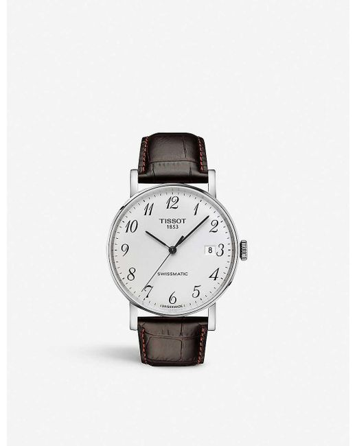 Tissot Brown T109.407.16.032.00 Everytime Swissmatic Stainless Steel And Leather Watch for men