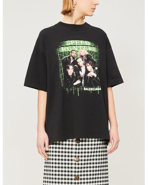 bdbd44d2c4de Balenciaga - Black Speed Hunters Graphic-print Cotton-jersey T-shirt - Lyst