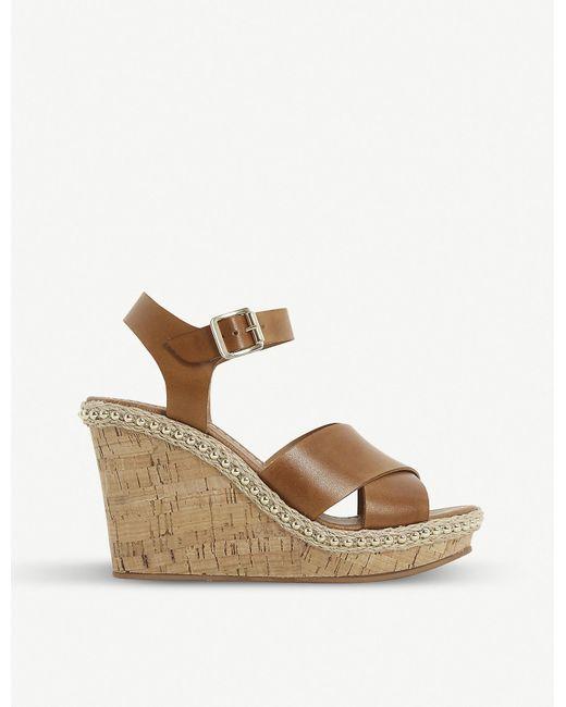 Dune Brown Karena Stud Wedge Heel Leather Sandals
