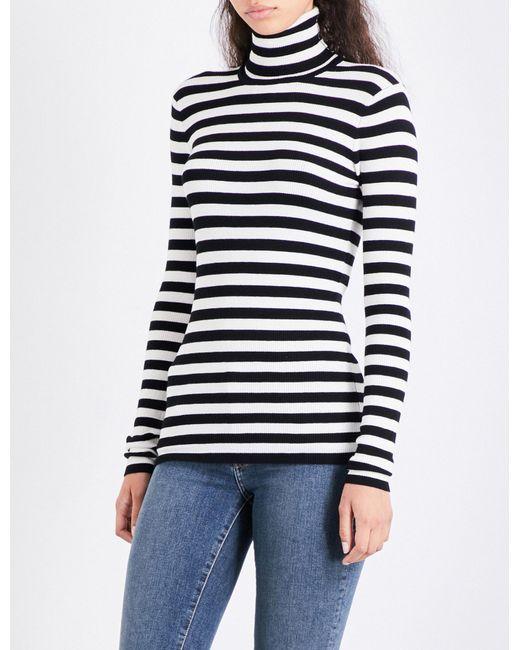 Maje | Multicolor Molleton Turtleneck Striped Knitted Jumper | Lyst