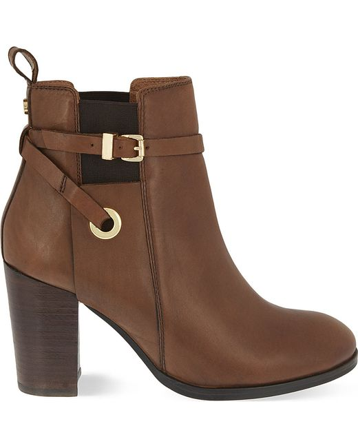 Carvela Kurt Geiger | Brown Stacey Leather Heeled Ankle Boots | Lyst