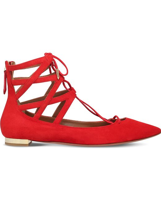 Aquazzura | Red Belgravia Flat Suede Ballerinas | Lyst