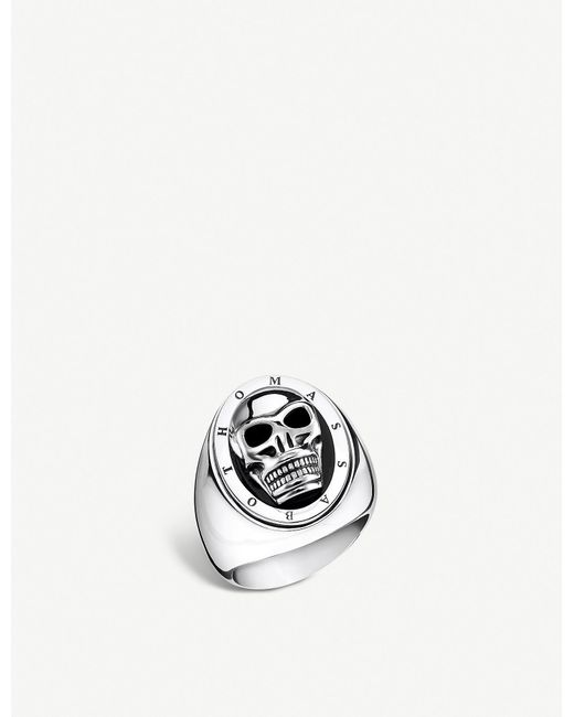 Thomas Sabo - Metallic Skull Silver And Onyx Signet Ring for Men - Lyst