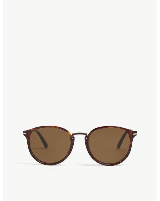 Persol - Mens Havana Brown Po3210 Typewriter Edition Round-frame Sunglasses for Men - Lyst