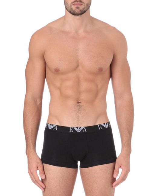 Emporio Armani | Black Two Pack Logo–waistband Trunks for Men | Lyst