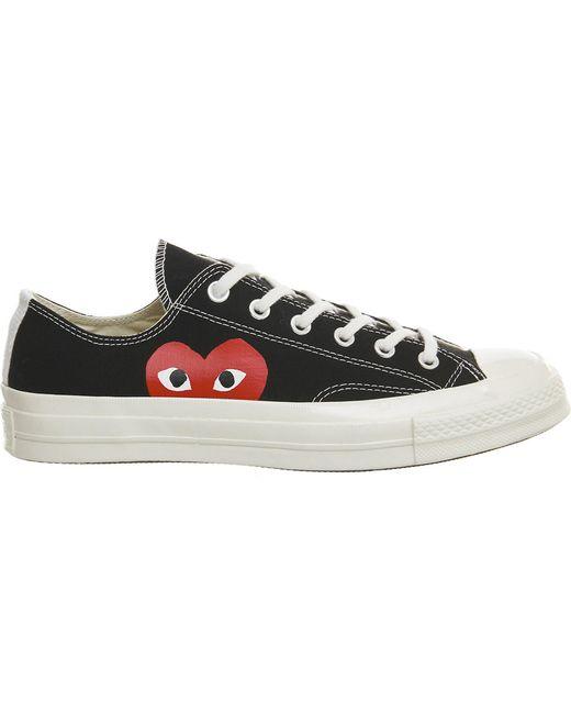 Comme des Garçons Black Large Emblem Low Top Canvas Sneakers for men