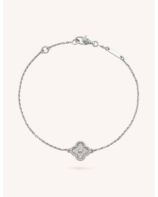 Van Cleef & Arpels Metallic Sweet Alhambra Gold And Diamond Bracelet