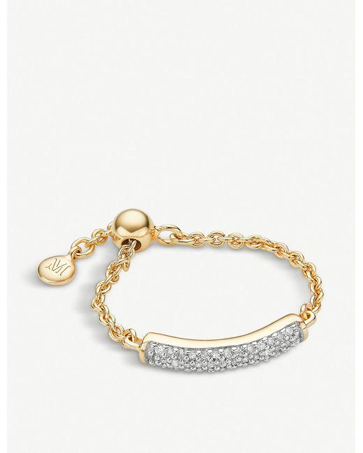 Monica Vinader White Fiji 18ct Gold Vermeil And Diamond Bar Friendship Ring