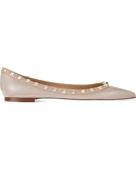 Valentino - Natural Rockstud Leather Flats - Lyst