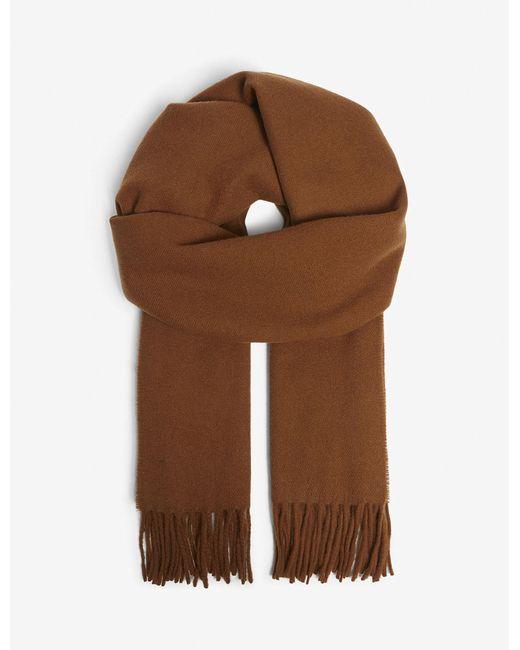 Sandro - Brown Fringe Wool Scarf for Men - Lyst