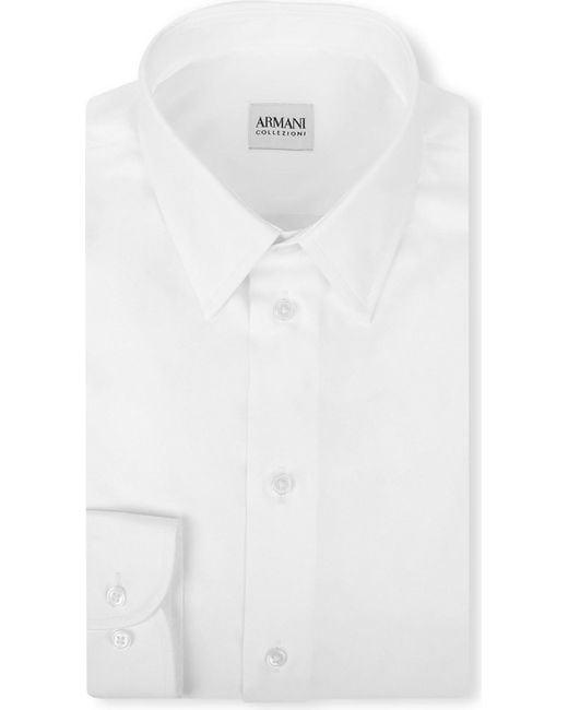 Armani | White Modern-fit Cotton-poplin Single-cuff Shirt for Men | Lyst