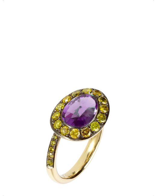 Annoushka - Purple Dusty Diamonds 18ct Yellow-gold Amethyst And Diamond Side Ring - Lyst