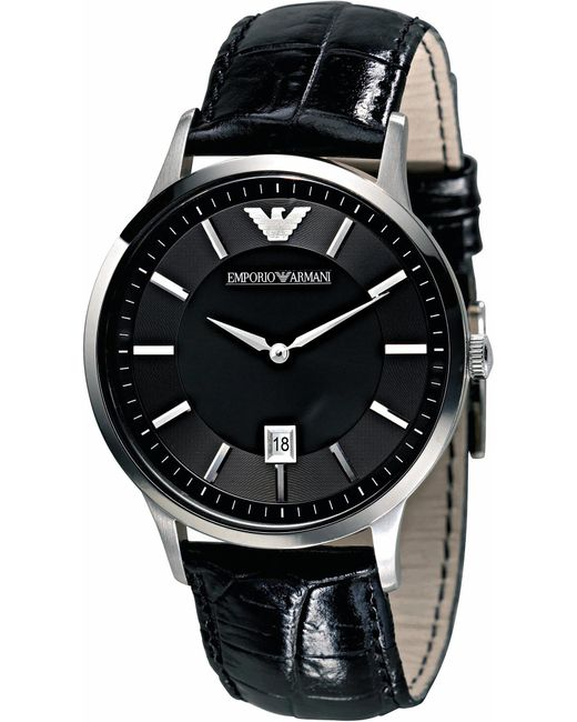 Emporio Armani - Black Ar2411 Stainless Steel And Leather Watch for Men - Lyst