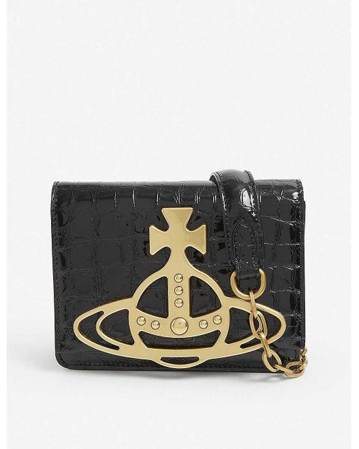 Vivienne Westwood Black Archive Orb Croc-embossed Leather Cross-body Bag