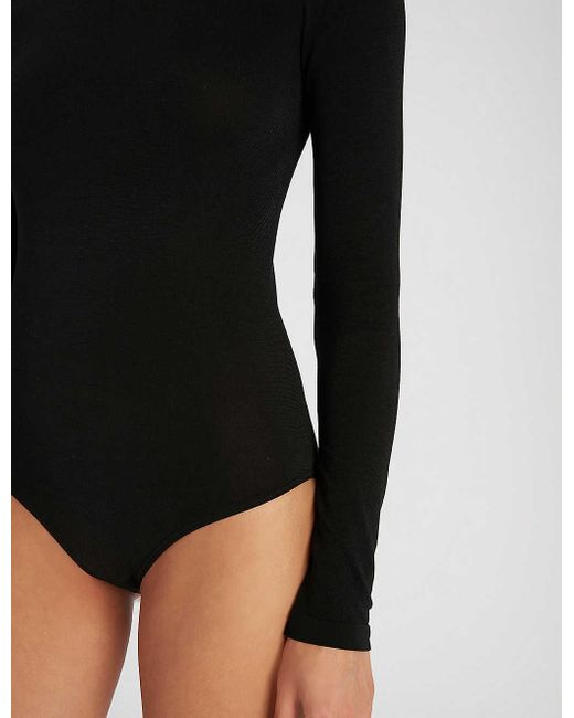 Wolford Black Berlin Scoop-neck Cotton-blend Body