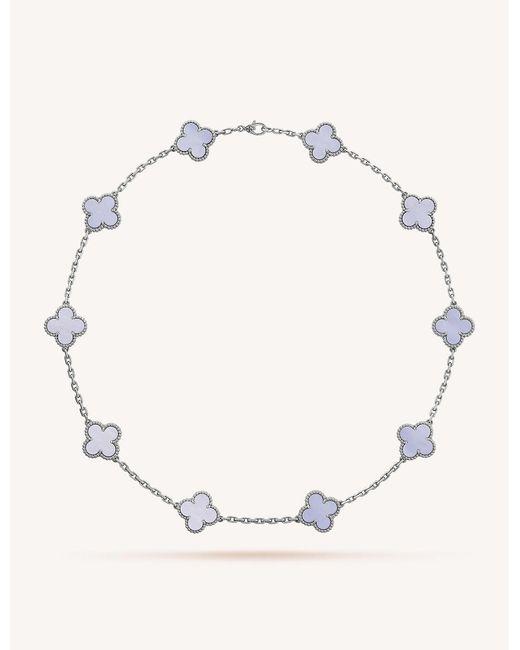 Van Cleef & Arpels Metallic Vintage Alhambra Gold And Chalcedony Necklace