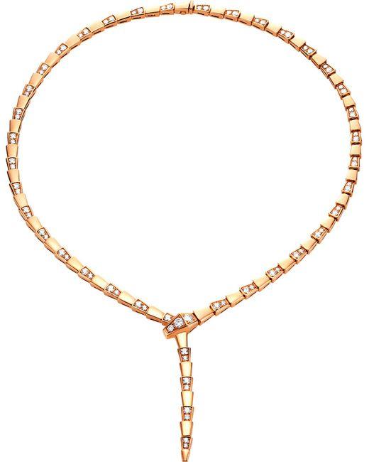 BVLGARI - Metallic Serpenti 18kt Rose-gold And Diamond Necklace - Lyst