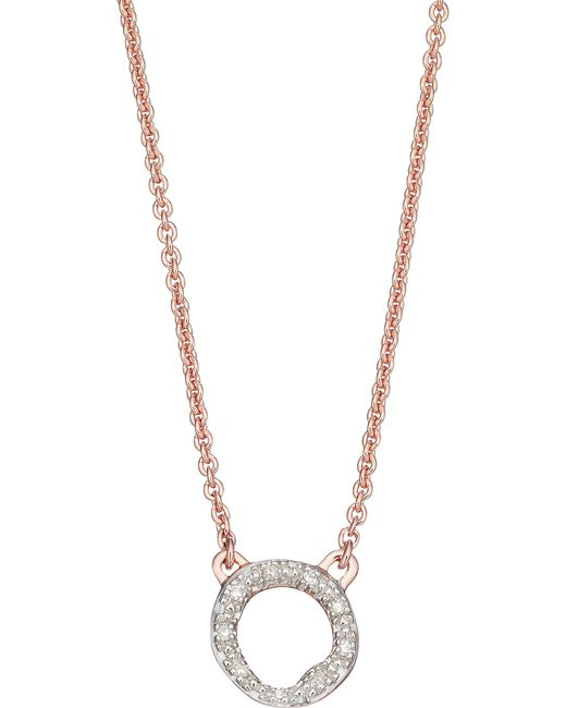 Monica Vinader - Metallic Riva Diamond Circle Pendant Necklace - Lyst