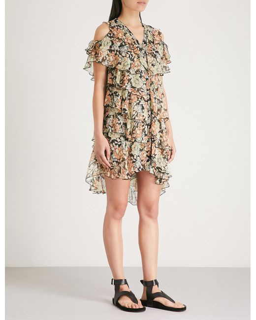 The Kooples - Multicolor Wanted-print Cold-shoulder Silk-chiffon Dress - Lyst