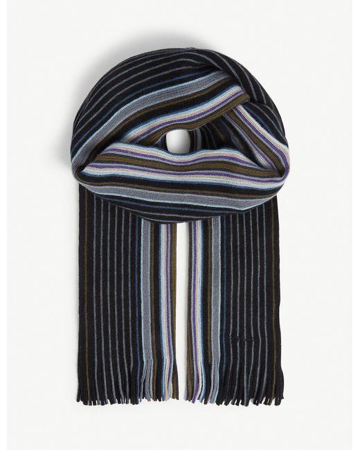 Paul Smith Black Goji Striped Wool Scarf for men