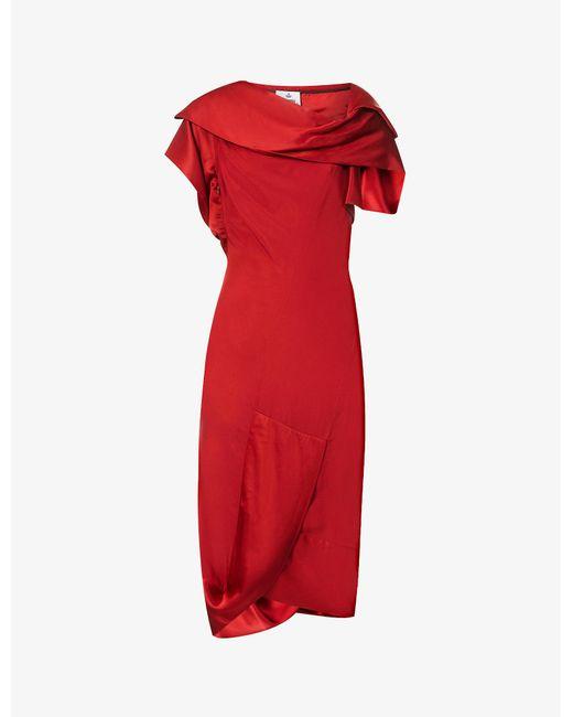 Vivienne Westwood Red Amnesia Asymmetric Crepe Midi Dress