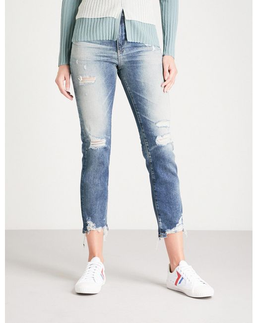 AG Jeans - Blue Isabelle Distressed Straight High-rise Jeans - Lyst