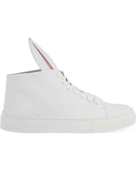 Minna Parikka | White Leather Bunny Ears High Top Sneakers | Lyst