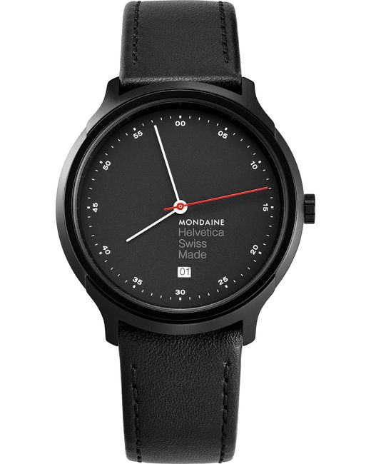 Mondaine - Mh1-r2223-lb Helvetica Spiekermann Edition Regular Leather And Black Ip Stainless Steel Watch for Men - Lyst