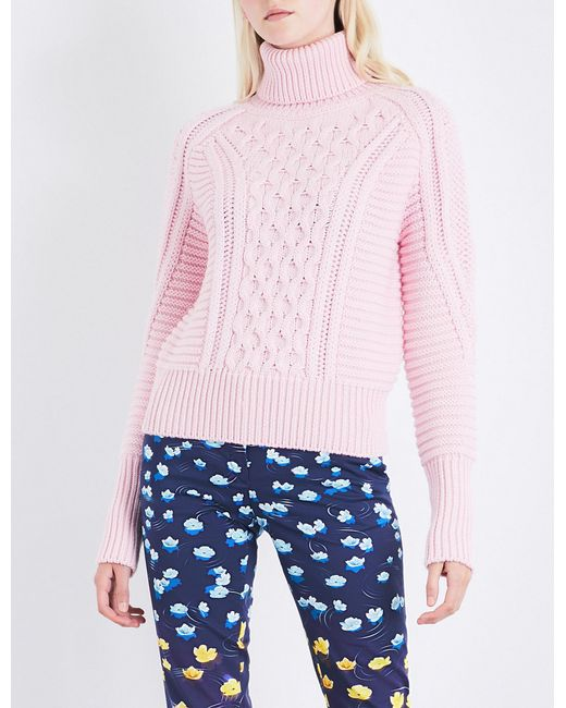 Mary Katrantzou | Pink Lancelot Turtleneck Cable-knit Wool Jumper | Lyst