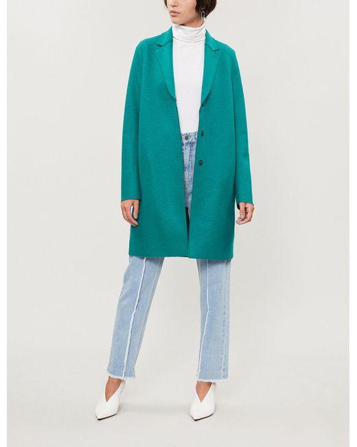 Harris Wharf London - Blue Cocoon Wool Coat - Lyst