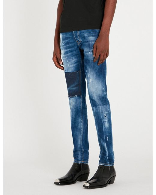 9ec6a067a2c DSquared² - Blue Cool Guy Distressed Slim-fit Skinny Jeans for Men - Lyst