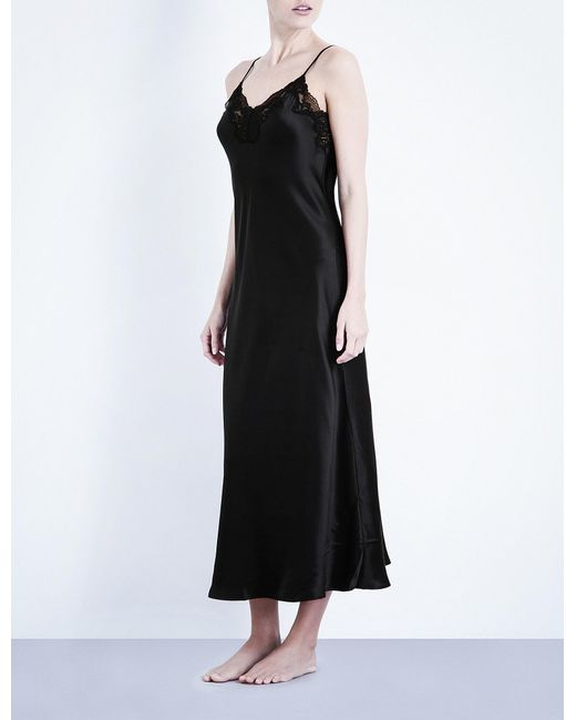 Nk Imode | Black Morgan Stretch-lace And Silk-satin Gown | Lyst