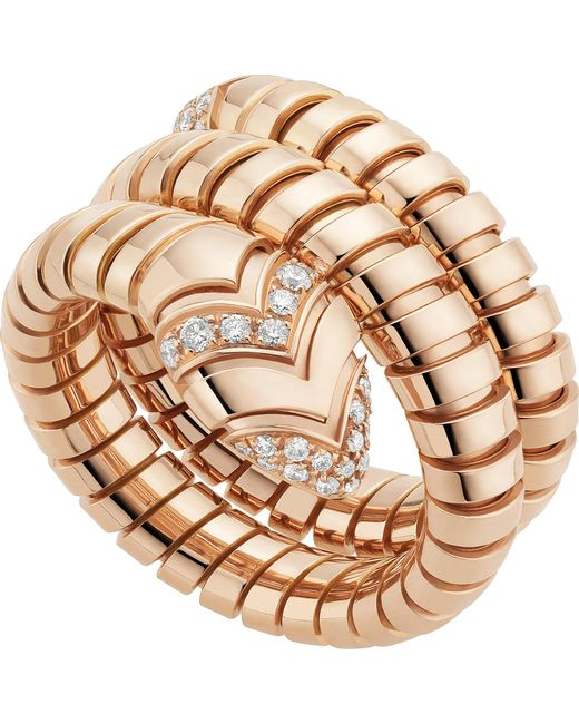 BVLGARI | Metallic Serpenti Tubogas 18kt Pink-gold And Diamond Ring | Lyst