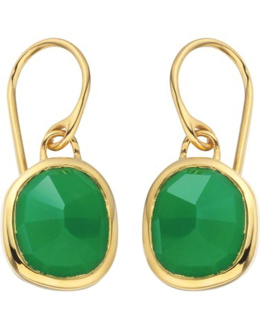 Monica Vinader - Siren 18ct Gold-plated Wire Earrings With Green Onyx - Lyst