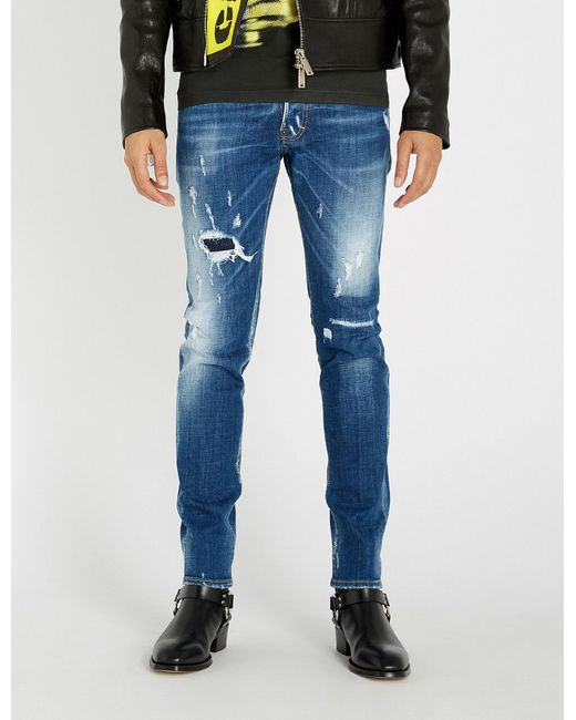 7d7788f6f67 Lyst - DSquared² Cool Guy Ripped Slim-fit Jeans in Blue for Men